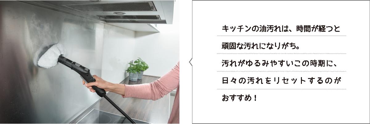 キッチンの油汚れは、時間が経つと頑固な汚れになりがち。汚れがゆるみやすいこの時期に、日々の汚れをリセットするのがおすすめ!