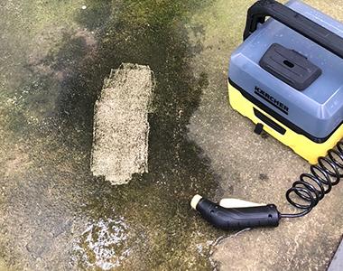 OC 3の水圧で簡単に付着汚れを落とすことができた